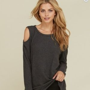 Cold Shoulder Long Sleeve Cashmere Feel Sweater